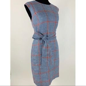 J. Crew Dresses - J.CREW Plaid Dress Italian Linen 10 Tie Waist
